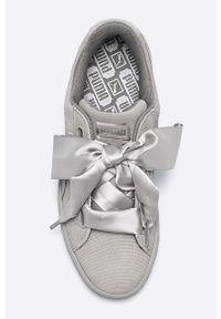 Szare buty sportowe Puma na sznurówki, z cholewką, na średnim obcasie