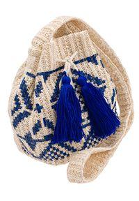 4U CAVALDI - Słomiany worek beżowo-niebieski Cavaldi BAG-LB-06 CREAM. Kolor: niebieski, beżowy, wielokolorowy. Sezon: lato