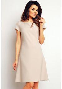 Infinite You - Elegancka gładka trapezowa sukienka. Materiał: poliester, materiał, elastan. Wzór: gładki. Typ sukienki: trapezowe. Styl: elegancki. Długość: midi