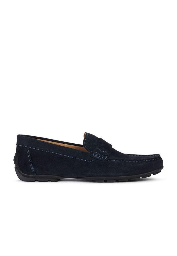Geox - Mokasyny skórzane. Nosek buta: okrągły. Kolor: niebieski. Materiał: skóra