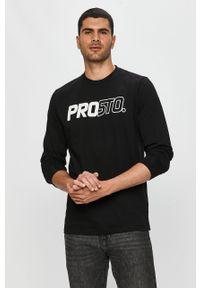 Czarna koszulka z długim rękawem Prosto. na co dzień, z okrągłym kołnierzem, z nadrukiem, casualowa