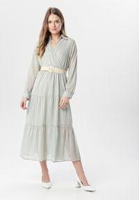 Born2be - Miętowa Sukienka Stacy. Kolor: miętowy. Długość rękawa: długi rękaw. Typ sukienki: kopertowe. Długość: maxi