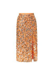 AGGI - Pomarańczowa cekinowa spódnica Layla. Stan: podwyższony. Kolor: pomarańczowy. Materiał: wiskoza. Wzór: aplikacja