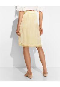 Żółta spódnica mini Ermanno Firenze w koronkowe wzory