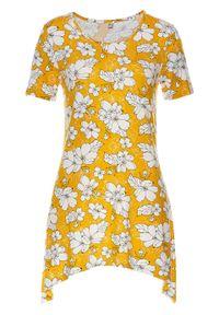 Shirt z przyjaznej dla środowiska wiskozy bonprix żółty szafranowy - czarno-biały. Kolor: żółty. Materiał: wiskoza