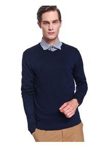 Niebieski sweter TOP SECRET klasyczny, na zimę