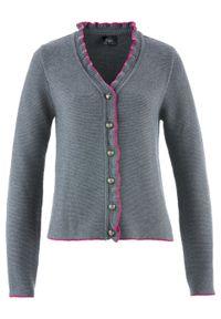Szary sweter bonprix z falbankami, melanż