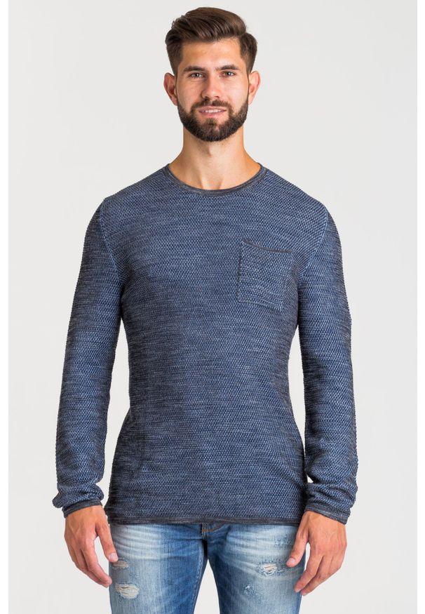 Szary sweter JOOP! Jeans z okrągłym kołnierzem, w kolorowe wzory