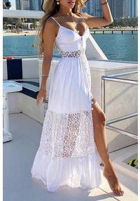 Biała długa sukienka IVET na lato, na ramiączkach