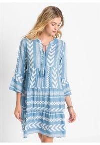 Sukienka oversize bonprix niebieski wzorzysty. Kolor: niebieski. Typ sukienki: oversize
