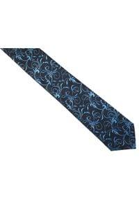 Modini - Granatowy krawat męski we florystyczny wzór C7. Kolor: niebieski. Materiał: tkanina, mikrofibra