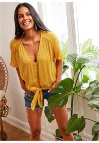 Bluzka z przewiązaniem bonprix żółty. Kolor: żółty