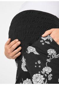 Elastyczne szorty ciążowe bonprix czarny w kwiaty. Kolekcja: moda ciążowa. Kolor: czarny. Wzór: kwiaty