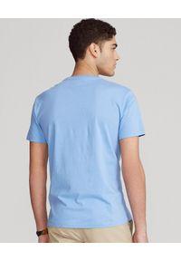 Ralph Lauren - RALPH LAUREN - Niebieska koszulka Custom Slim Fit. Okazja: na co dzień. Typ kołnierza: polo. Kolor: niebieski. Materiał: bawełna. Wzór: haft. Styl: casual #2