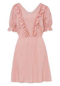 Różowa sukienka bonprix w grochy, z krótkim rękawem