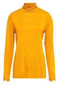 Żółta bluzka bonprix z golfem, elegancka