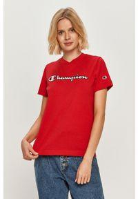 Czerwona bluzka Champion z aplikacjami, casualowa, na co dzień