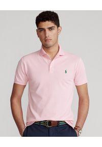 Ralph Lauren - RALPH LAUREN - Różowa koszulka polo Slim Fit Stretch Mesh. Okazja: na co dzień. Typ kołnierza: polo. Kolor: różowy, wielokolorowy, fioletowy. Materiał: mesh. Wzór: haft, ze splotem. Styl: casual