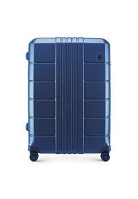 Niebieska walizka Wittchen w kolorowe wzory