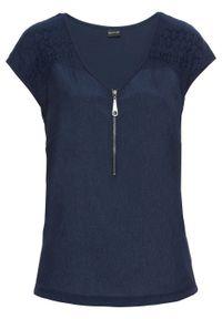 Niebieska bluzka bonprix z dekoltem w serek, do pracy, biznesowa, na lato