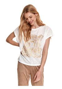 TOP SECRET - Bluzka z krótkim rękawkiem ze złotą panterą. Kolor: biały. Materiał: dzianina. Długość rękawa: krótki rękaw. Długość: krótkie. Wzór: motyw zwierzęcy. Sezon: lato, wiosna