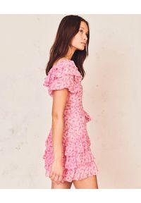 LOVE SHACK FANCY - Różowa sukienka mini Kimbra. Typ kołnierza: dekolt kwadratowy. Kolor: różowy, wielokolorowy, fioletowy. Materiał: jedwab. Wzór: kwiaty, aplikacja. Styl: vintage. Długość: mini