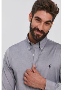 Polo Ralph Lauren - Koszula bawełniana. Typ kołnierza: polo. Kolor: szary. Materiał: bawełna. Długość rękawa: długi rękaw. Długość: długie