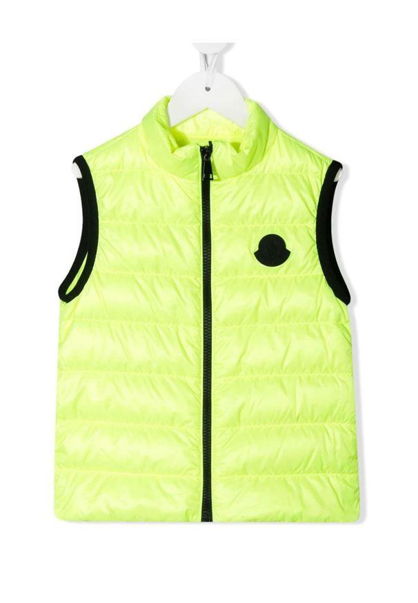 MONCLER KIDS - Neonowa kamizelka Artemas 4-10 lat. Kolor: żółty. Materiał: materiał, puch. Wzór: aplikacja. Sezon: lato