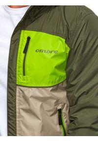 Zielona kurtka Ombre Clothing na wiosnę, z kapturem