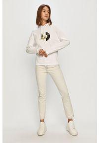 Biała bluza Armani Exchange z kapturem, z nadrukiem