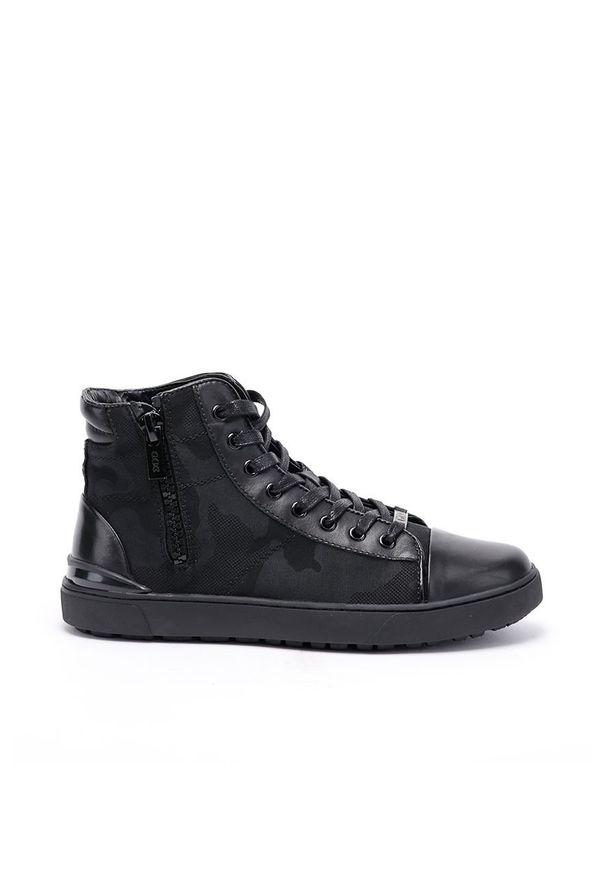 Czarne sneakersy GOE na sznurówki, z okrągłym noskiem, z cholewką