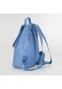 Wittchen - Damski plecak skórzany minimalistyczny. Kolor: niebieski. Materiał: skóra. Styl: elegancki