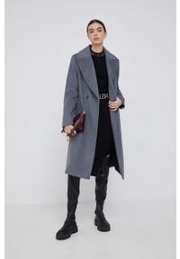 DKNY - Dkny - Płaszcz wełniany. Okazja: na co dzień. Kolor: szary. Materiał: wełna. Styl: klasyczny, casual