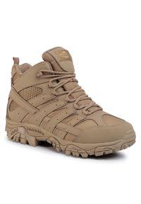 Beżowe buty trekkingowe Merrell z cholewką, trekkingowe