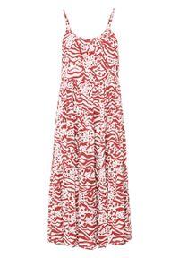 Sukienka bonprix biel wełny z nadrukiem. Kolor: biały. Materiał: wełna. Długość rękawa: na ramiączkach. Wzór: nadruk