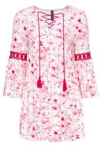 Różowa tunika bonprix z nadrukiem