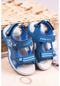 Casu - niebieskie sandały na rzepy casu jf01. Zapięcie: rzepy. Kolor: niebieski