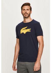 Niebieski t-shirt Lacoste z okrągłym kołnierzem, casualowy