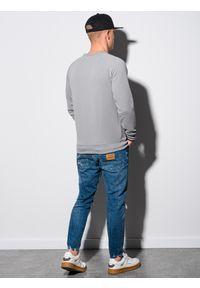 Ombre Clothing - Bluza męska bez kaptura B1156 - szara - XXL. Typ kołnierza: bez kaptura. Kolor: szary. Materiał: dresówka, bawełna, jeans, dzianina, poliester