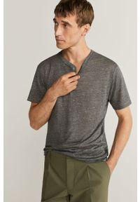 Szary t-shirt Mango Man na co dzień, krótki, casualowy