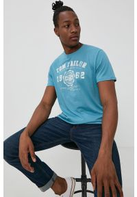 Tom Tailor - T-shirt. Kolor: niebieski. Materiał: dzianina. Wzór: nadruk