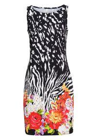 Sukienka ołówkowa w kwiatowy deseń bonprix czarno-biel wełny w kwiaty. Kolor: czarny. Materiał: wełna. Wzór: kwiaty. Typ sukienki: ołówkowe