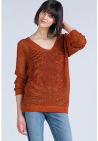 Brązowy sweter Monnari z długim rękawem, długi