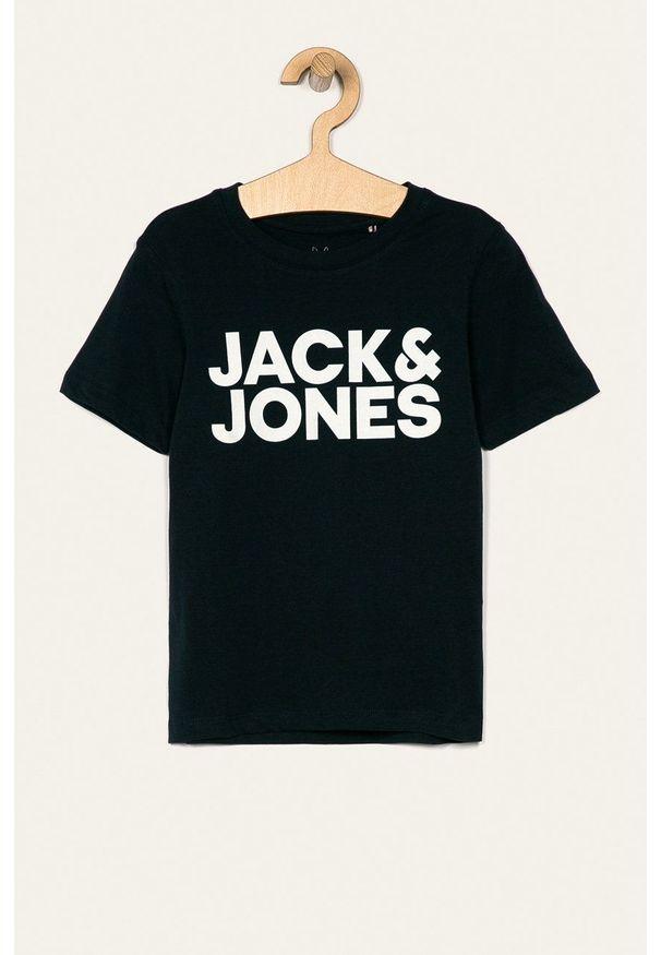 Jack & Jones - T-shirt dziecięcy 128 - 176 cm. Okazja: na co dzień. Kolor: niebieski. Materiał: materiał. Wzór: nadruk. Styl: casual