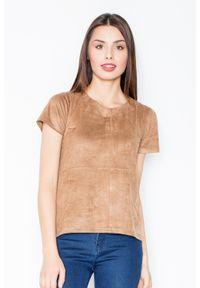 Figl - Brązowa Prosta Zamszowa Bluzka z Przeszyciami. Kolor: brązowy. Materiał: zamsz