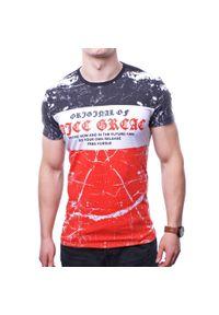 Czerwony t-shirt z nadrukiem Recea na co dzień, casualowy