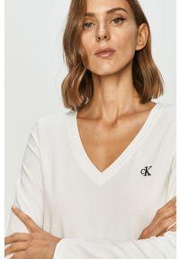 Biała bluzka z długim rękawem Calvin Klein Jeans casualowa, na co dzień