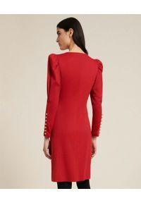 Luisa Spagnoli - LUISA SPAGNOLI - Czerwona sukienka mini Grafico. Kolor: czerwony. Materiał: wełna. Długość rękawa: długi rękaw. Typ sukienki: dopasowane. Długość: mini