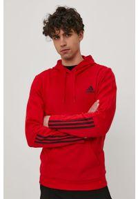 Czerwona bluza nierozpinana Adidas gładkie, casualowa