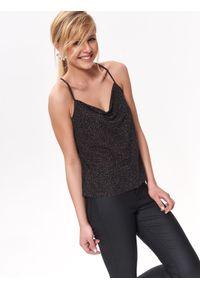 Czarna bluzka TOP SECRET na wiosnę, elegancka, na imprezę, na ramiączkach